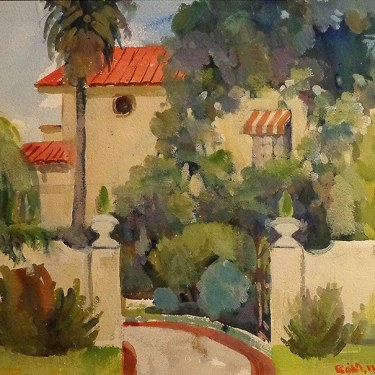 Robert M. Harris Spanish Hideaway 15x22 Watercolor