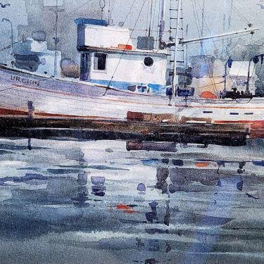 Unknown Artist Harbor Tug Boat Watercolor 9x12 295