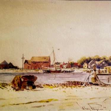 Wrae Physioc Carolina Harbor 5x7 watercolor 125.00