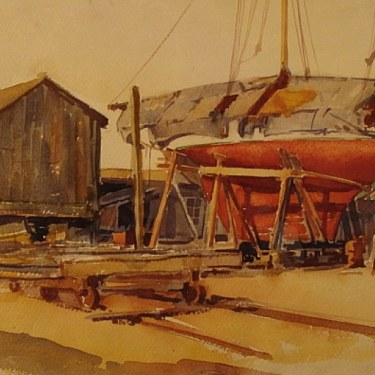 Port Washington, Long Island by Jay Weaver 15x21 Watercolor