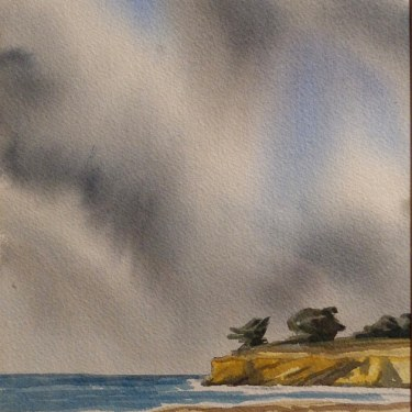 John Iwerks, Leadbetter Beach, 10x7 Watercolor