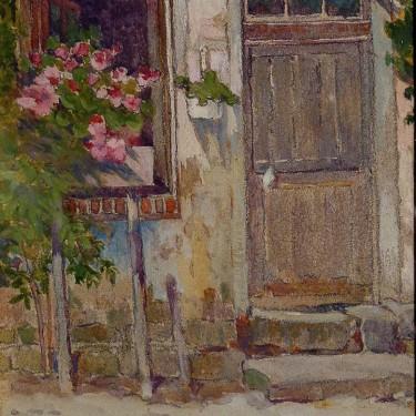 Emma Parker Nordell, Gloucester Doorway, 6x5 Watercolor