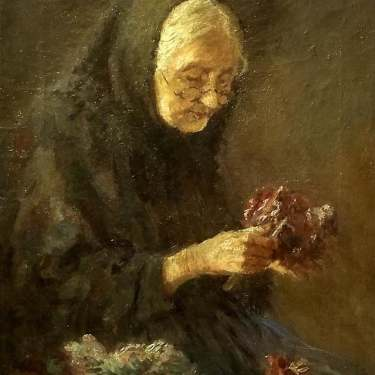Oscar Achenback Flower Seller 14x11 Oil on Canvas