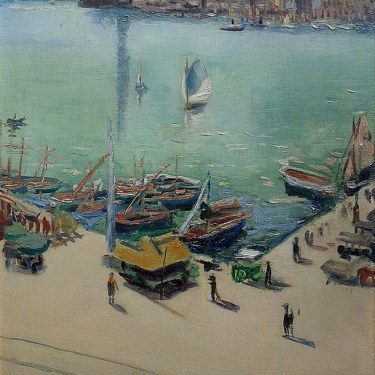 Pierre Sicard Marseille Harbor 1925 29x20 Oil on Canvas