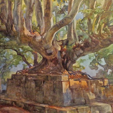 Quorado Carlaudi Ruins of the Temple of Jupiter 18x26 Watercolor