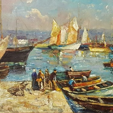 Unknown Artist Bustling Harbor Circa 1920 16x20 Oil on Canvas