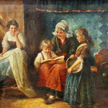 Van Der Strass Dutch Interior 18x22 oil on canvas