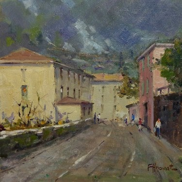 Felice Hrovat  Back Street  8x8 oil on board