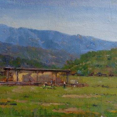 Felice Hrovat By the Hay Barn 9x12 Oil on Board
