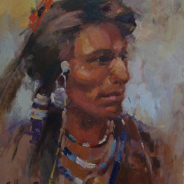 Felice Hrovat Indian Brave 12x9 Oil on Board