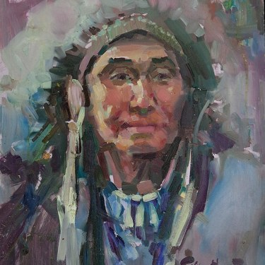Felice Hvorat Indian Chief 16x12 Oil on Board