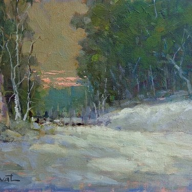 Felice Hrovat Last Light 9x12 Oil on Board