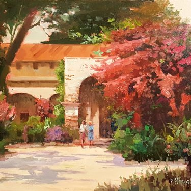 Felice Hrovat Mission Entrance 16x20 Oil on Canvas