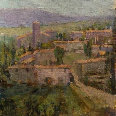 Felice Hrovat Village in Wine Country 12x9 Oil on Canvas