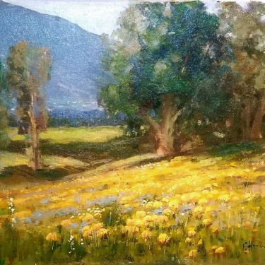 Felice Hrovat California Poppy Field 12x16 Oil on Canvas