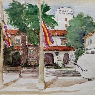 E. Bright Pasadena Playhouse 5x7 Watercolor