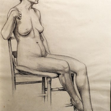 EG Brown Nude with Chair 25x19 Drawing