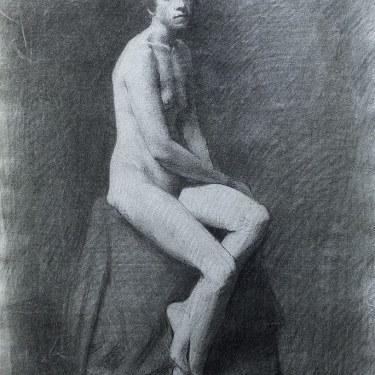 J. mason Reeves  Sitting nude  24x18 pencil drawing