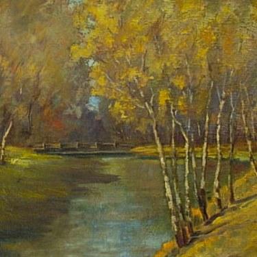 Charles Aspens along the River 18x24 Oil