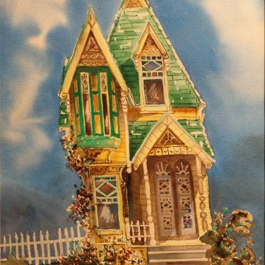 Don Lewis, Victorian House, 16x12 Watercolor