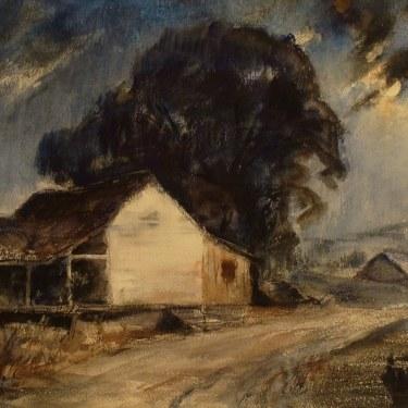 Einar Hansen Moonlit Farmhouse 15x22 Watercolor