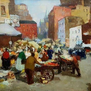 Ben Galos East Side Market Oil on Canvas 30x24