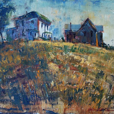 Ben Abril Hilltop Houses 16x20 Oil on Canvas