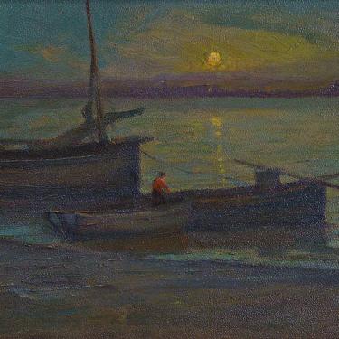 Charles John Dickman Returning at Twilight 12x18 Oil on Board