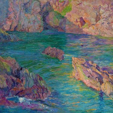 Geraldine Birch Duncan Beach Rocks Laguna 24x21 Oil on Canvas