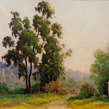 Dedrick Stuber Hollywood Hills Oil on Board 20x24