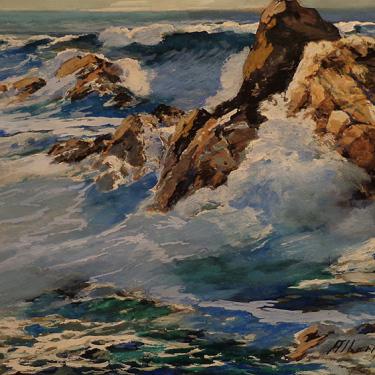 Albert Jacobson California Crashing Surf 12x18 Mixed Media on Board
