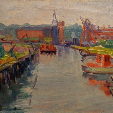 Alta West Salisbury Working Docks 8x10 Oil on Canvas Board