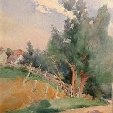 Anna Hills Countryside Home 14x9.5 Watercolor