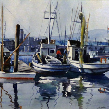 Arthur Clough San Pedro Harbor 18x22 Watercolor