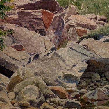 Ben Carre Rugged Rocks Taquitz Canyon 11x14 Watercolor