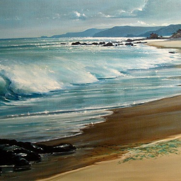 Calderon Peaceful Shore 24x36 oil on canvas
