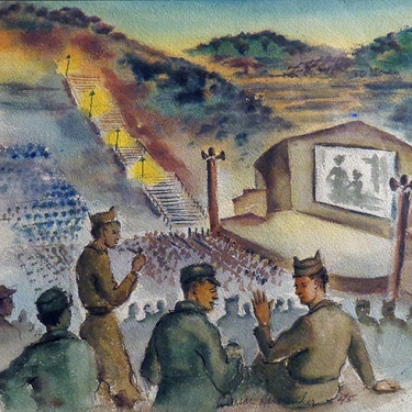 Cesar Hernandez Movie Night WW II 9x11 Watercolor