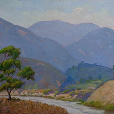 Charles B. Green Road in Eaton Canyon Altadena 16x20 oil on board