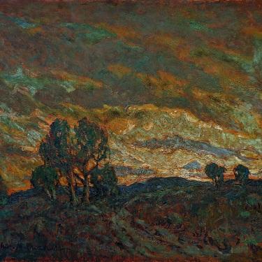 Charles Crocker Dramatic Sunset 30x36 Oil on Board