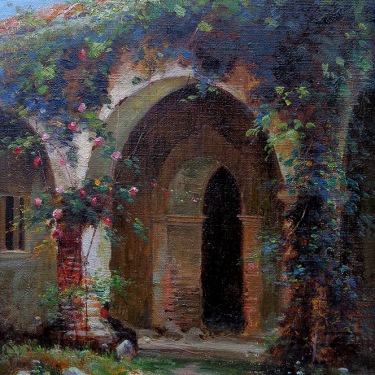 Charles A. Rogers Mission Garden 16x12 Oil on Canvas