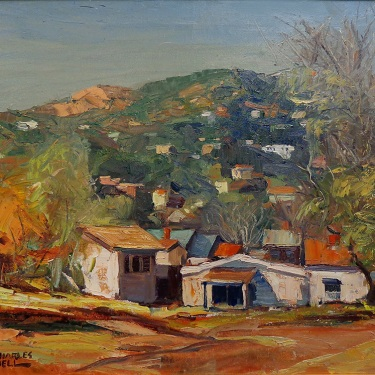 Charles Bell Houses in Chavez Ravine 20x24 Oil on Canvas
