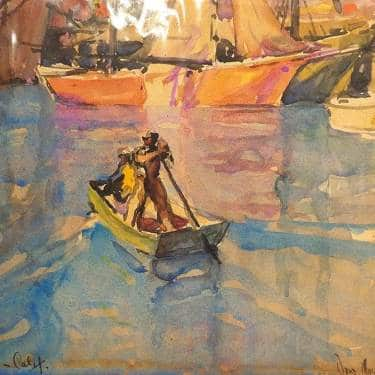 0 Donald Easton San Pedro Harbor Watercolor