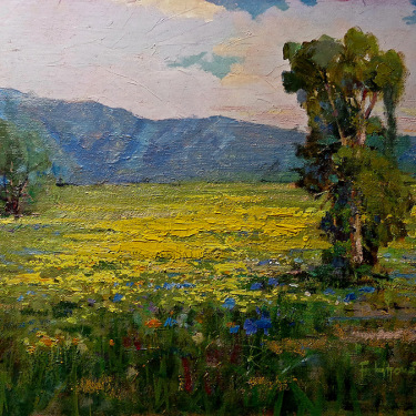 Felice Hrovat Mustard and Lupine Antelope Valley 12x16 Oil on Canvas