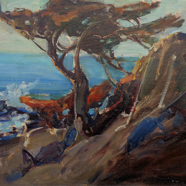 Frederick W. Becker The Monterey Pine 12x16 Oil on Board
