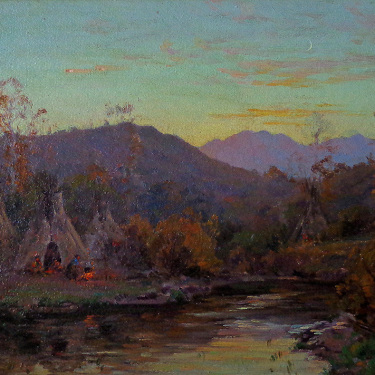 George Melcher Indian Encampment 11x14 Oil on Board