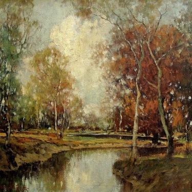 George Thompson Pritchard Autumn Gold 25x30 Oil on Canvas