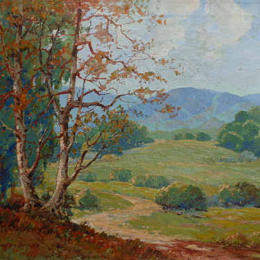 George Wallace Olson California Sycamore and Foothills 24x30 Oil on Canvas