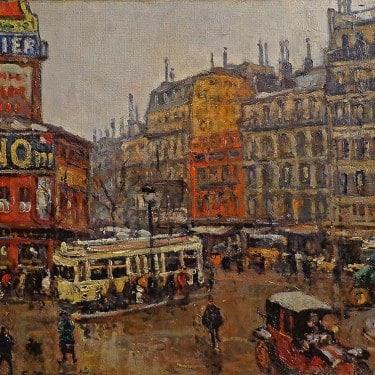 Georges Barwolf Place de Clichy 18x22 Oil on Board
