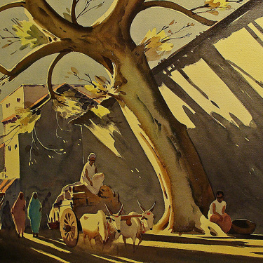 Gideon Arul Raj Lengthening Shadows 18x24 Watercolor