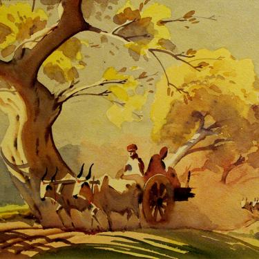Gideon Arul Raj Ox Carts 10x15 Watercolor